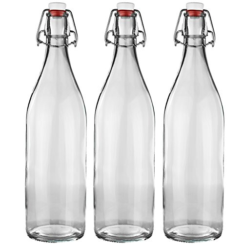 3er Set Bormioli Glasflasche mit Bügelverschluss aus Glas - Gesamthöhe : 32cm - Füllmenge 1000ml / 100cl - Ideal als Weinflasche,Milchflasche,Saftflasche,Schnapsflasche,Ess und Öl ,Selbstbefüllen