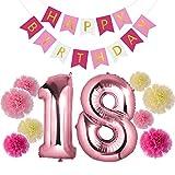 Czemo Decoración Cumpleaños 18 Años Kit de Decoraciones de la Fiesta de Cumpleaños + Globo Número 18 + Bandera del Feliz Cumpleaños + Pom Poms de Papel