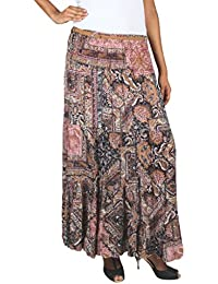 Old Khaki Printed Cotton Viscose Casual Women's Maxi Skirt with Belt in Multicolor with Contrast & Free Shipping