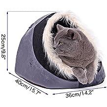 Cueva caliente de la moda Cat Cave Bed con pelo suave Casa de perro Puppy Kennel Shelter para Kitty Rabbit y Nest para Kitten Small Animals Edge Xinanlongjb ( PATTERN : Gray )