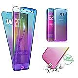 Handytasche für Samsung Galaxy S8, CESTOR [Ultra-Weiche Clear Silikon] Dual-Layer 360 Grad Luxus Durchsichtig TPU Gradient Farbe Kratzfest Schutzhülle für Samsung S8, Blau+Lila