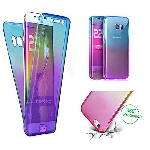 Handytasche für Samsung Galaxy S7, CESTOR [Ultra-Weiche Clear Silikon] Dual-Layer 360 Grad Luxus Durchsichtig TPU Gradient Farbe Kratzfest Schutzhülle für Samsung S7, Blau+Lila