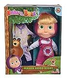 Simba 109301022 Mascha und der Bär Puppe mit extra Schlafanzug, 30cm
