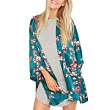 Siswong Verano Mujer Floral Suelto Chal Kimono Rebeca Abrigo Chaqueta Blusa Tops Blusón (L, Verde)
