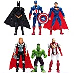 6pcs Sets Superhero Avengers Iron Man Hulk Captain America Superman Batman Action Figures Gift Collection of Children's Toys
