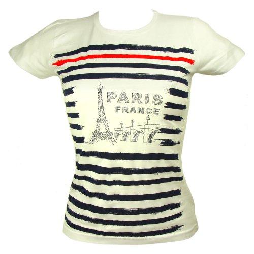 Souvenirs de France - T-Shirt Femme Paris Tour Eiffel - Couleur : Blanc, Bleu