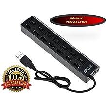 MMOBIEL Highspeed USB Hub 2.0 Adaptador de 7 Puertos ultraligero power adapter with individual con botones de encendido y luces LED para PC, portátil, ordenador Hot Plugin Plug & Play para PC Laptop Notebook Computer Windows MAC