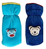 My Newborn Baby Feeding Bottle Cover with Soft and Attractive Fancy Cartoon, Dark Blue and Sky (Pack Set of 2)