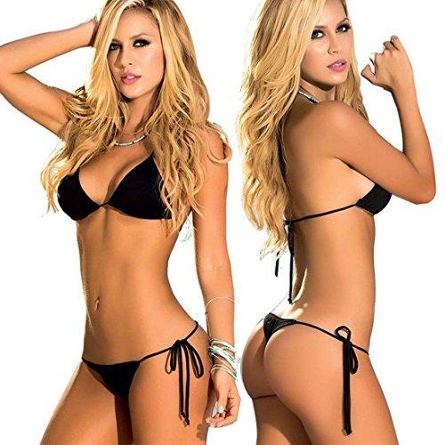 lor Women's Thong Bikini Set String Bademode for S-XL Body (Black) ()
