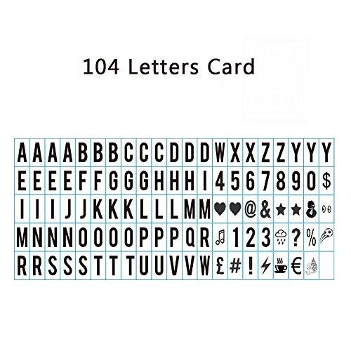 Aoxun 104 Black Light Box Letters Cinetic LED Acrílico Números y Símbolos para caja de luz A4 Tamaño 35 * 65mm