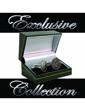Manschettenknöpfe, Silbermünzen, Sixpence 1954, in Geschenkbox