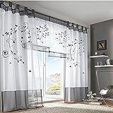 URIJK Gardine Riemenart Gartenstickerei Vorhang Transparent Schal Fenster Dekoration Fenstervorhang Fenstergardine für Wohnzimmer Schlafzimmer Kinderzimmer(1 Stück)