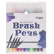 Ezigoo Brush Pen - Juego de 10 rotuladores de colores - con suave flexible Real cepillo punta crear efecto de acuarela
