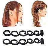 Hengsong 2 Stück Schöne Damen Haarstyling Tool Haare Flechten Werkzeug Friseur Haar Styling Twist (Schwarz)