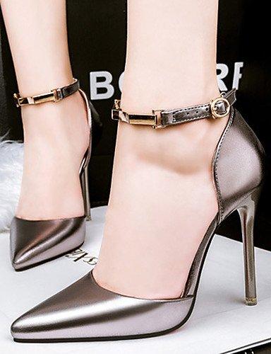 WSS 2016 Chaussures Femme-Décontracté / Soirée & Evénement-Noir / Rose / Argent / Taupe-Talon Aiguille-Talons-Talons-Similicuir silver-us8 / eu39 / uk6 / cn39