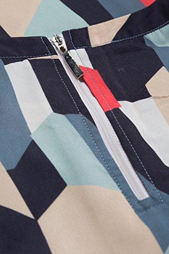 Ulla Popken Femme Grandes Tailles Chemisier Femmes Chemise Automne Manches 3/4 Evasées Col V Tops Slim Elégante Imprimée Simple Basique Hauts Blouse 707438 Multicolore