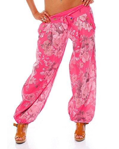 Moda Italy Damen Haremshose Pumphose Ballonhose Pluderhose Yogahose Aladinhose Harem Sommerhose mit Stoffgürtel Flower-Print, One Size Gr.36-42, Pink
