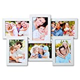 WOLTU Bilderrahmen Holz Rahmen für 6 Bilder in 10x15cm, Querformat und Hochformat, Foto Collage, Fotorahmen aus MDF, Weiss, BR9642ws
