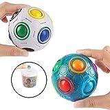 2PCS Regenbogen Ball Magic Ball Spielzeug Puzzle Magic Rainbow Ball für Kinder Pädagogisches Spielzeug Jugendliche Erwachsene Stress Reliever Malloom Pop Luminous Stressabbau Blau und Weiß