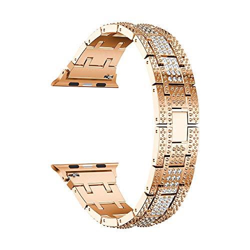 TianranRT Luxus Legierung Kristall Watch Band Handgelenk Gurt Für Apple Watch Serie 4 40MM (Roségold,40mm) (Apple Fräser)