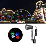 KING DO WAY LED Flood Lights Indoor/Outdoor Moving Landscape Projector Lamp Lighting for Halloween Christmas Tree Garden Patio Stage Party House Decoration Multi-Color Snowflake