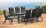 1–Tavolo allungabile 139/199cm e 8Sedie Pieghevoli e 8Cuscini KETTLER Basel Mobili da giardino in antracite