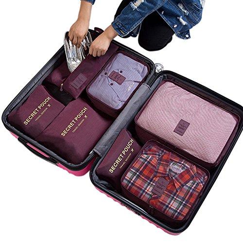 Belsmi Reise Kleidertaschen Set 7-teilig Reisetasche in Koffer Reisegepäck Organizer Kompression Taschen Kofferorganizer Mit Schuhbeutel (Grün) Weinrot
