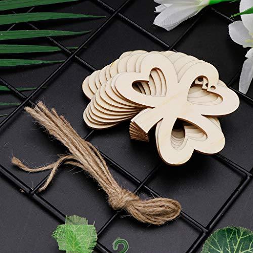 sunhoyu Holz-Scheiben,10 Teile/Satz Herz DREI Kleeblatt DIY Hölzerne Hängende Plaque Zeichen DIY St. Patrick's Day Ornamente Dekor (Day St Patricks Dekor)