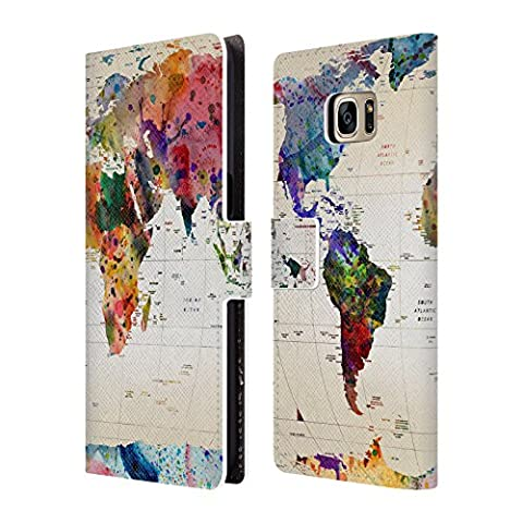 Official Mark Ashkenazi Map Of The World Pop Culture Leather Book Wallet Case Cover For Samsung Galaxy S7 edge
