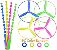 Samdone twisty Pull String Flying Saucers/Helicopters (1pc Color Random)