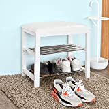 SoBuy® estante del zapato, estantería para zapatos, Zapatero 2 niveles, blanco,FSR18-K-W, ES