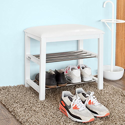 SoBuy® Mini Schuhbank,Sitzbank,Schuhregal, Schuhschrank, Schuhtruhe, Badregal mit 2 Böden,FSR18-K-W