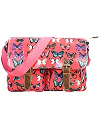 Stunning Stylish Red Color Butterfully Printed Handbag Cum Sling Bag For Women & Girls By Bagris GE01001844