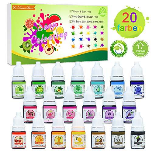Seifenfarbe Set 20er x 6ml - Lebensmittelqualität Seifenfarben Färbende Hautverträgliche Farbe Pigment für die Seifenherstellung, Regenbogen Flüssigseife für DIY Kit Badebomben, Schleim, Kunsthandwerk