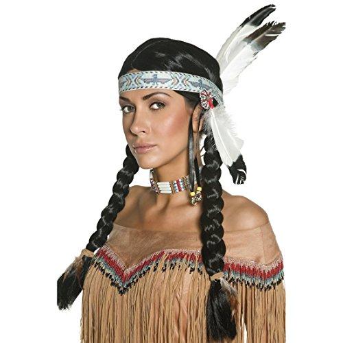 Amakando Indianerperücke Indianer Perücke mit Federn und Haarband Unisex Häuptling Zöpfe Squaw Indianerzöpfe Western Faschingsperücke Pocahontas Kostüm Haare (Pocahontas Erwachsene Kostüme)