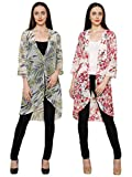 2Day Womens Stylish Georgette Long Shrug Pack of 2 (Large)