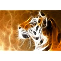 Startonight Wall Art canvas Tiger testa, animali Glow in the Dark, Dual View Surprise Artwork Modern incorniciato pronto da appendere Wall Art 60 x 90 cm 100% Original Art painting.