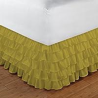 300TC 100% cotone egiziano Elegante Finitura 1pcs multi Ruffle Giroletto A Goccia (lunghezza: 27cm), Cotone, Yellow Solid, EU_King_Ikea