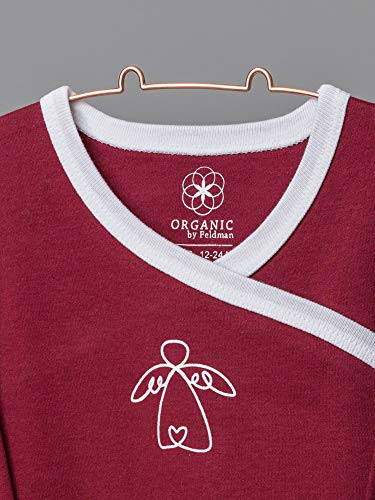 Organic by Feldman Unisex Baby Body Langarm Wickelbody aus Bio Baumwolle, GOTS Zertifiziert, Schutzengel Rot, (74/80) - 4