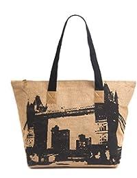 H&B Jute Beach Bag/shopping Bag(Tote,Londan Bridge-black,Large Size-19x13x6 Inch)