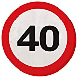 Papierservietten 40er Geburtstag Verkehrsschilder Servietten 33 x 33 cm Partyservietten Papier Serviette Motivservietten Geburtstagsservietten Einwegservietten Geburtstagsparty Tischservietten