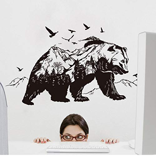 Lyiting Berg Schwarzbär Transparent Film Wohnzimmer Schlafzimmer Wandaufkleber Dekoration Backgroundwall Aufkleber