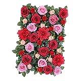 Sharplace Schöne Künstliche Blumen Säule, Kunstblumen Panel für Garten Hochzeit Dekor - Rot mit Blättern