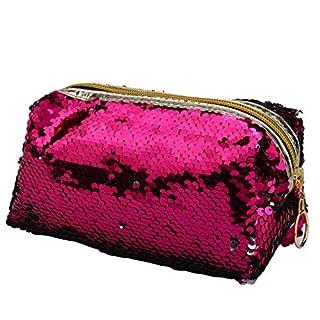 DIPOLA Damen Pailletten Kosmetiktasche doppelseitige Kosmetiktasche Mode Aufbewahrungstasche Handtasche Aufbewahrungstasche tragbare Aufbewahrungstasche