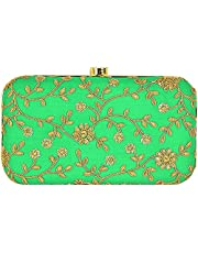 Tooba Handicraft Party Wear Hand Embroidered Box Clutch Bag
