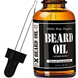 Spiced Sandalwood Beard Oil - #1 RATED Leven Rose Leave-in Conditioner - Best Scented Beard Oil 100% Organic Natural for Groomed Beard Growth, Mustache, Skin for Men - 1 oz - Spiced Sandalwood Scent by Leven Rose