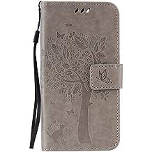 HTC Desire 825Wallet Case Cover–Cozy Hut [New Estilo] Ultra Slim piel carcasa para HTC Desire 825Flip pintura gatos y árbol diseño PU Funda Billetera Funda–Funda Holster