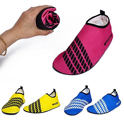 Prettyuk Unisex Strandschuhe Aquaschuhe Breathable Weiche schnelltrockene rutschfeste Schwimmschuhe geeignet für Tauchen Schnorcheln Schwimmen für Damen Herren (Colour A) Colour E