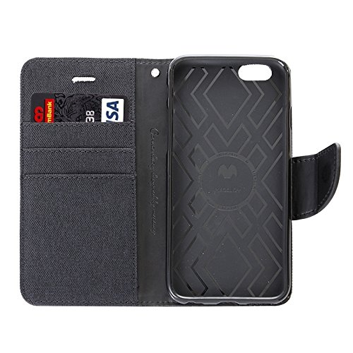 Wkae Case Cover Denim Textur Horizontal-Schlag-Leder-Kasten mit Halter & Card Slots & Wallet für iPhone 6 & 6S ( Color : Red ) Black