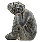 SVITA Buddha Garten-Budda Steinbuddha schlafend Deko Figur Asien Statue Skulptur 48 cm groß Feng Shui Stein-Optik Grau
